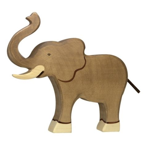 TRUMPETING ELEPHANT WOODEN FIGURINE