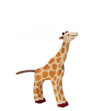 EATING BABY GIRAFFE WOODEN FIGURINE