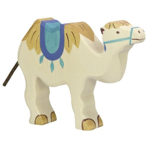 CAMEL WITH SADDLE WOODEN FIGURINE