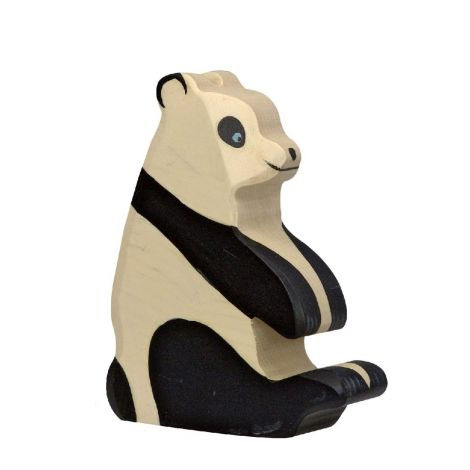 SITTING PANDA WOODEN FIGURINE