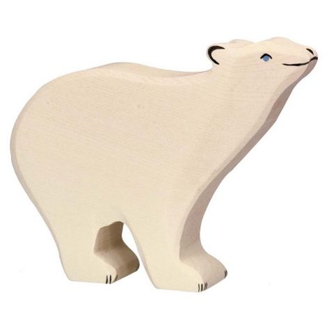STANDING POLAR BEAR WOODEN FIGURINE