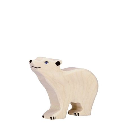 POLAR BEAR CUB WOODEN FIGURINE