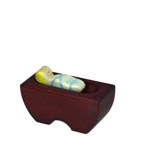 BABY JESUS IN COT WOODEN NATIVITY FIGURINE