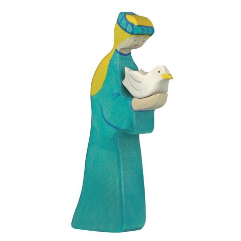 NOAH'S WIFE WOODEN FIGURINE