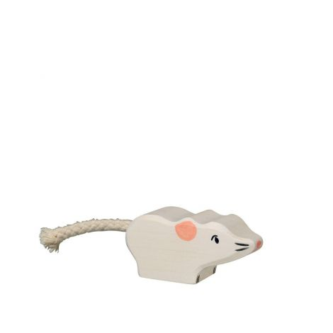 WHITE MOUSE WOODEN FIGURINE