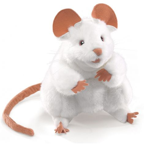 WHITE MOUSE HAND PUPPET