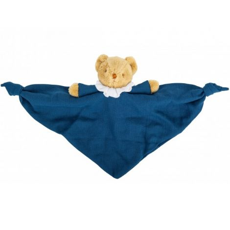 ORGANIC COTTON BEAR SECURITY BLANKET WITH RATTLE (NAVY BLUE)