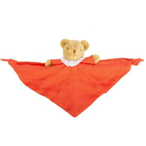ORGANIC COTTON BEAR SECURITY BLANKET WITH RATTLE (TANGERINE)