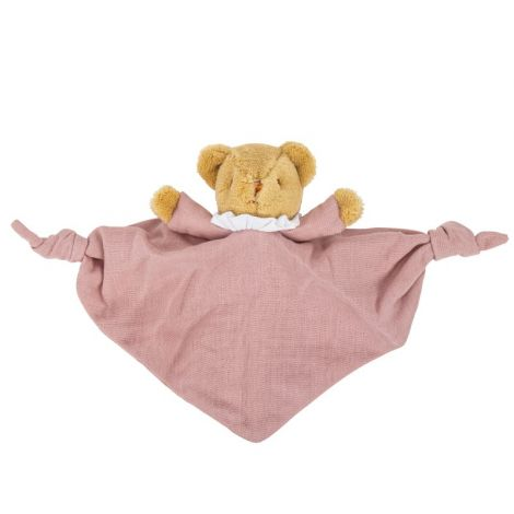 ORGANIC COTTON BEAR SECURITY BLANKET WITH RATTLE (DUSTY PINK)