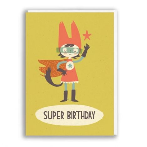 SUPER BIRTHDAY GIRL GREETING CARD, BY PAPER & CLOTH