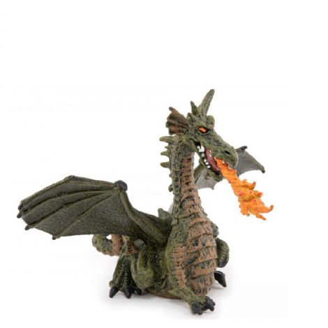 GREEN WINGED DRAGON WITH FLAMES