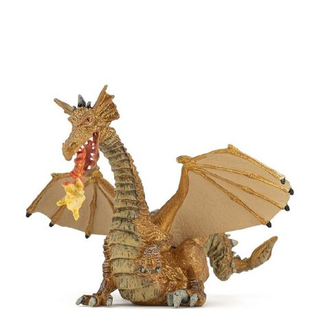 GOLD WINGED DRAGON WITH FLAMES FIGURINE