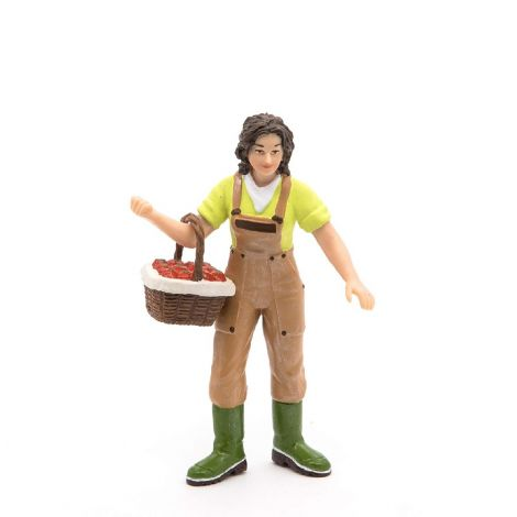 FARMER WITH APPLE BASKET FIGURINE