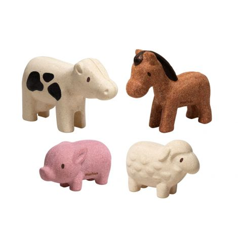 PLANWORLD™ WOODEN FARM ANIMAL FIGURINES SET