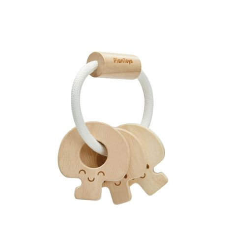 NATURAL WOODEN BABY KEY RATTLE