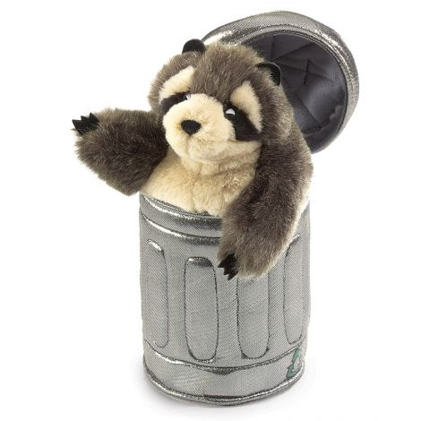 RACCOON-IN-GARBAGE-CAN POP-UP HAND PUPPET