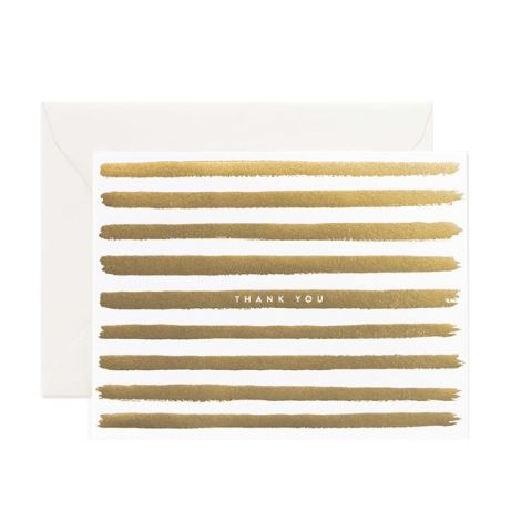 GOLD STRIPES THANK YOU GREETING CARD, BY RIFLE PAPER CO.