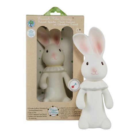 HAVAH BUNNY PURE NATURAL RUBBER SQUEAKING TEETHER