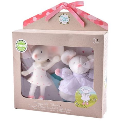MEIYA MOUSE RUBBER TEETHER FIGURINE + PLUSH RATTLE GIFT SET