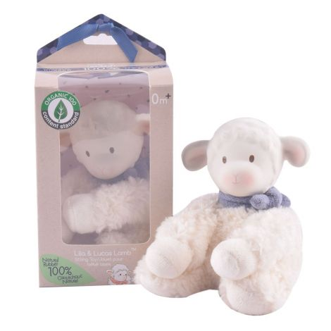 LUCAS ORGANIC RUBBER + COTTON PLUSH TEETHING LAMB (BLUE)
