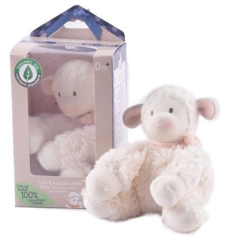 LILA  ORGANIC RUBBER + COTTON PLUSH TEETHING LAMB (PINK)